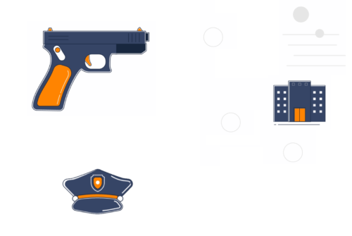 A gun, cop hat, and building graphic.