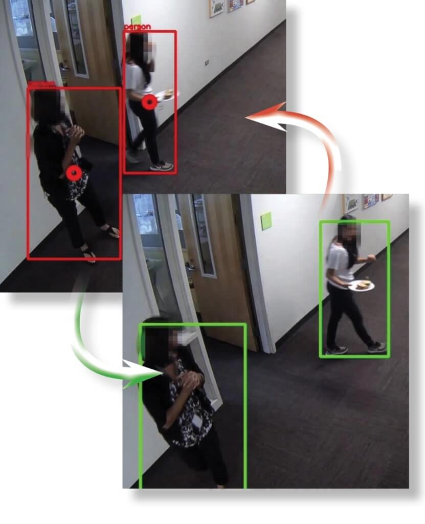 A still of an AI surveillance video that shows the social distancing analytics of two women in an office hallway.